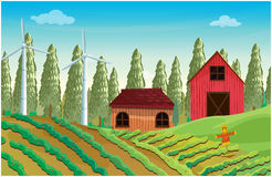 A farm with windmills and two wooden houses Stock Photography