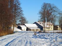 Farm in winter 2. Rural farm in early winter, first snow Royalty Free Stock Images