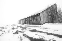Farm in Winter. B&W Royalty Free Stock Photography