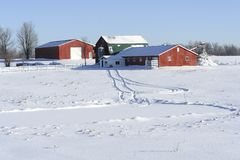 Farm in winter Stock Images
