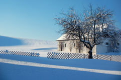Farm in Winter Landscape Stock Photography