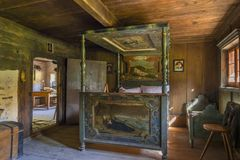 Farm and Winter Sports Museum, Schliersee, Bavaria. Bed room in a historic farmhouse, Markus Wasmeier Farm and Winter Sports Museum, Schliersee, Upper Bavaria Stock Photography