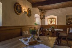 Farm and Winter Sports Museum, Schliersee, Bavaria. Public room, in a historic inn, Markus Wasmeier Farm and Winter Sports Museum, Schliersee, Upper Bavaria Royalty Free Stock Image