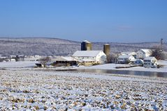 Farm in wintry countryside Stock Photography
