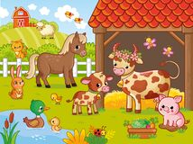 Free Farm With Animals In Cartoon Style. Vector Illustration With Pets. Large Set Royalty Free Stock Images - 180805499