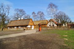 Farm, wooden and brick buildings of the area of the museum. Reconstruction of IXX century Royalty Free Stock Photo