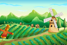 A farm with wooden houses and a scarecrow. Illustration of a farm with wooden houses and a scarecrow Stock Photography