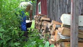 Farm worker man boy unload firewood wood from rusty wheelbarrow barrow. 4K stock footage