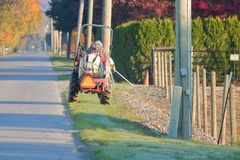 Farm Worker and Weed Killer Insecticide. A farm worker drives his small, utility tractor while using a hose to spray weed killer insecticide along the boundaries royalty free stock image