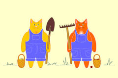 Farm workers cats Stock Images