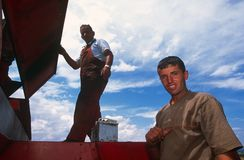 Farm workers in Kosovo. Stock Images