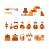 Farming products icons set, farm house, fruit vegetables, cow milk, meat. Farm workers and products icons. House and barn, tractor symbol, cow milk and meat Royalty Free Stock Photos