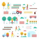 Farm Workers, Special Machines and Green Plants. Farm themed colorful icons. Trees with ripe fruits and rows of vegetables vector illustrations set Royalty Free Stock Photography