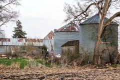 Farm yard. Grain Bins & Shed in Prairie City Iowa Royalty Free Stock Image