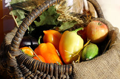 Farm yellows  and red peppers on sack Royalty Free Stock Photography