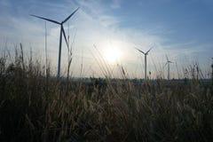 Farma wiatrowa, silnik wiatrowy zdjęcia stock