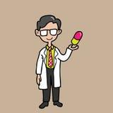 Farmacéutico con la cápsula colorida ilustración del vector