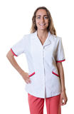Farmacéutico de sexo femenino caucásico de risa Imagen de archivo libre de regalías