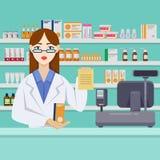 Farmacéutico de sexo femenino joven con las píldoras detrás del contador Interior de la farmacia o de la droguería Ejemplo plano  stock de ilustración