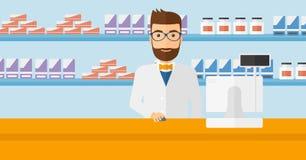 Farmacéutico en el contador con el monitor de computadora stock de ilustración