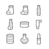 Farmacéutico médico, iconos de las botellas fotos de archivo