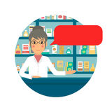 Farmacêutico com bolha do discurso Fotografia de Stock