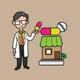Farmacêutico que guarda a cápsula grande colorida Imagens de Stock Royalty Free