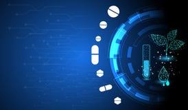 Farmaceutische technologie die geneeskrachtige installaties met behulp van om belangrijk substantiesconcept te halen stock illustratie