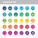 Farmaceutisk och medicinsk symbolsuppsättning vektor illustrationer