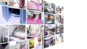 Farmaceutyczna produkcja - kolaż Obraz Stock