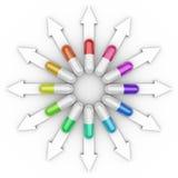 Farmaci differenti delle pillole delle capsule Immagini Stock