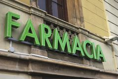 Farmacia assina dentro Barcelona spain Foto de Stock