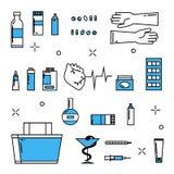 Farmacia delle icone della medicina Fotografia Stock