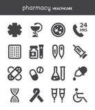 farmacia Iconos planos de la atención sanitaria negro Fotos de archivo