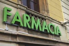 Farmacia sign in Barcelona. Spain Stock Photo