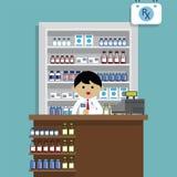 Farmacista alla farmacia Fotografie Stock Libere da Diritti