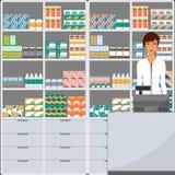 Farmacista della donna in una farmacia di fronte agli scaffali con le medicine Illustrazione di vettore nello stile piano Fotografia Stock Libera da Diritti