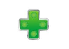 Farmacy button. Green farmacy button with metallic frame Stock Photo