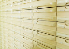Farmacy storing drawers close up. Farmacy shelves and storing system with many drawers Stock Image