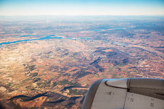 Farmed fields aerial view from airplane near Madrid Stock Images