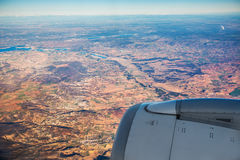Farmed fields aerial view from airplane near Madrid Stock Photography