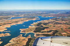 Farmed fields aerial view from airplane near Madrid, Spain Royalty Free Stock Photo