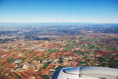 Farmed fields aerial view from airplane near Madrid, Spain Stock Photos