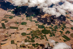 Farmed fields aerial view landscape Royalty Free Stock Image