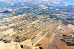 Farmed fields aerial view in sicily Royalty Free Stock Images