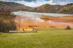 Farmer近被污染的湖 免版税库存图片