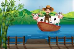 Farmer και βάρκα απεικόνιση αποθεμάτων