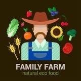 Farmer και φυσικά τρόφιμα eco συγκομιδών: λογότυπο αγροτικής γεωργίας Στοκ Φωτογραφίες