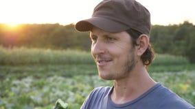 Farmer που στέκεται στον τομέα του οργανικού αγροκτήματος, της κατανάλωσης του φρέσκου ώριμου αγγουριού και του χαμόγελου απόθεμα βίντεο