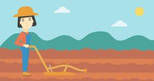 Farmer στον τομέα με το άροτρο ελεύθερη απεικόνιση δικαιώματος